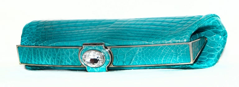 Judith Leiber Turquoise Croc Clutch With Crystal Top Closure For Sale 1