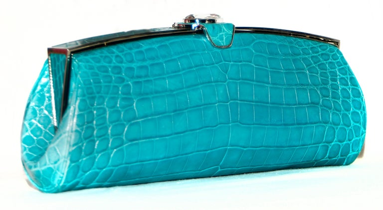 Blue Judith Leiber Turquoise Croc Clutch With Crystal Top Closure For Sale