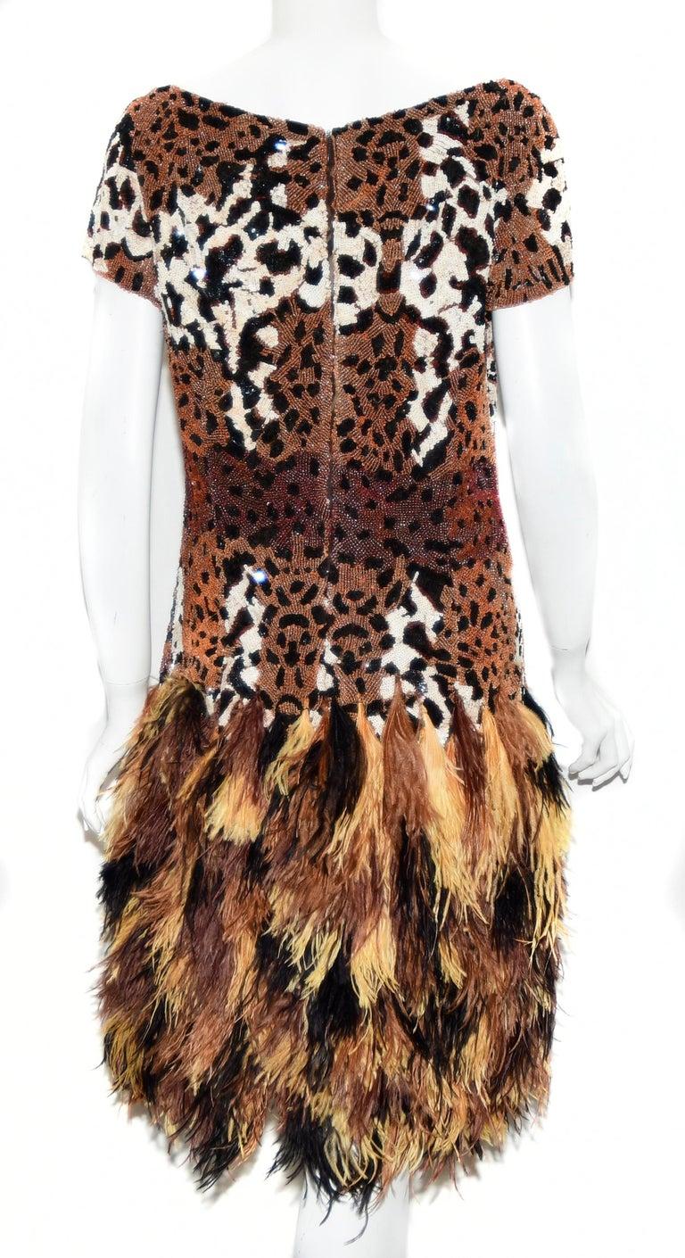 Brown Naeem Khan Leopard Sequin Print Top Dress W/ Ostrich Feathers Skirt 2014 Dress For Sale