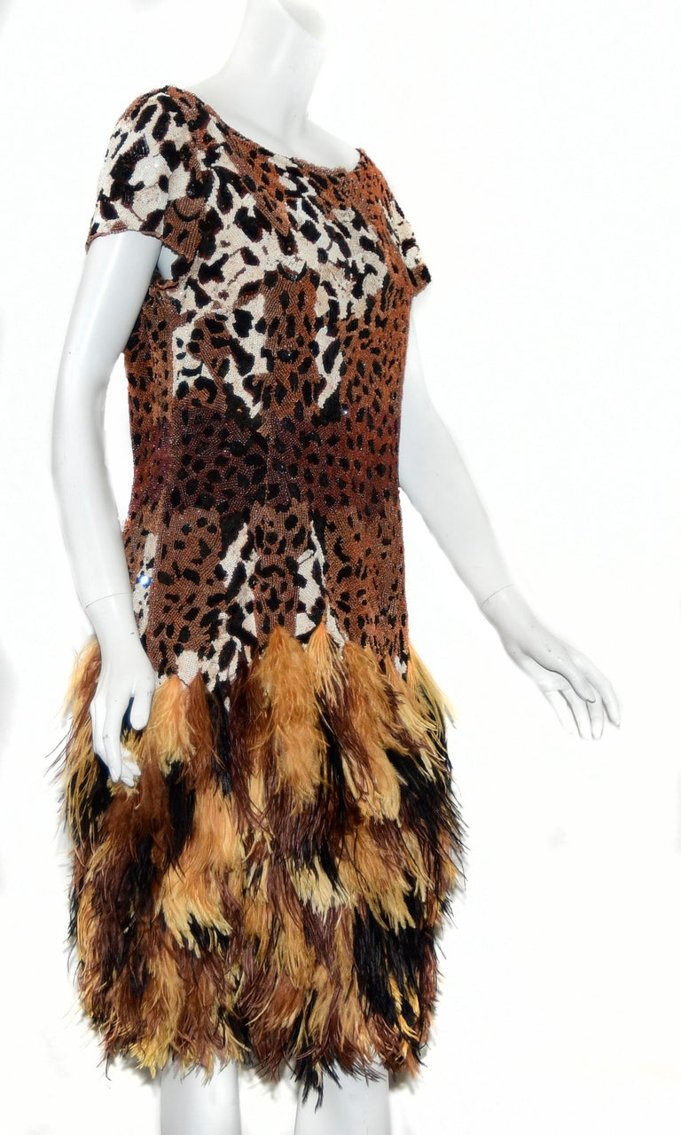 Naeem Khan Leopard Sequin Print Top Dress W/ Ostrich Feathers Skirt 2014 Dress In Excellent Condition For Sale In Palm Beach, FL