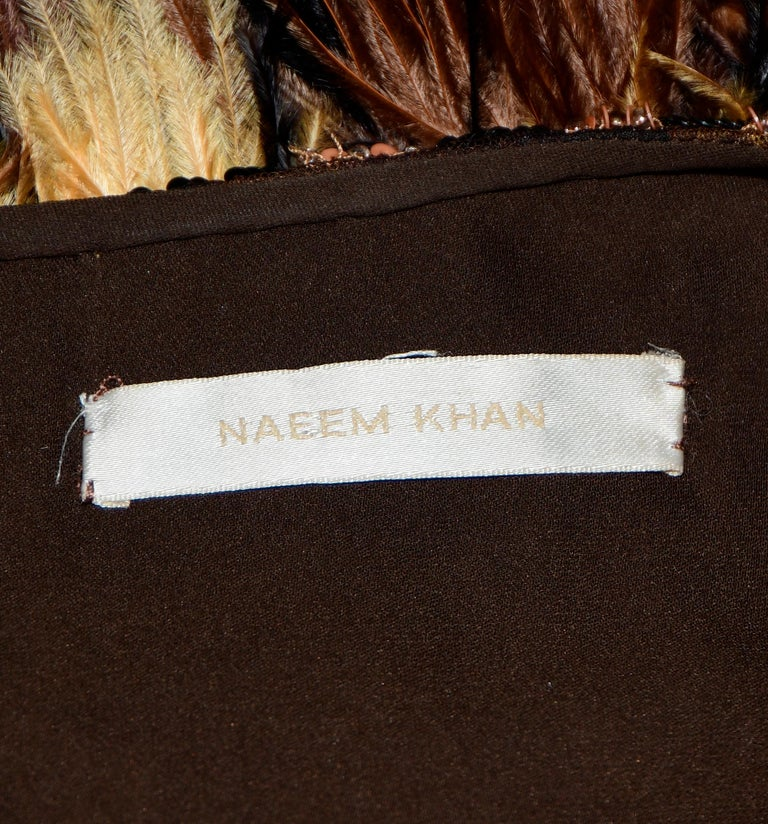 Women's Naeem Khan Leopard Sequin Print Top Dress W/ Ostrich Feathers Skirt 2014 Dress For Sale