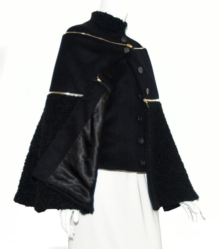Alexander McQueen Black Adaptable Wool & Cashmere Coat For Sale 8