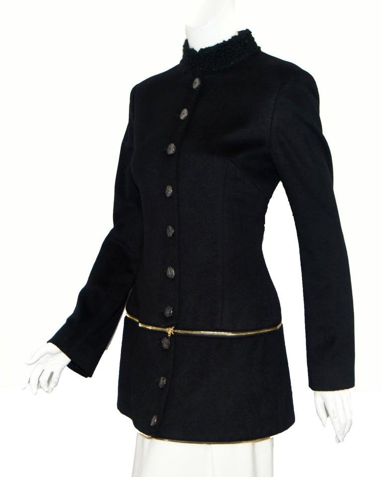 Alexander McQueen Black Adaptable Wool & Cashmere Coat For Sale 2