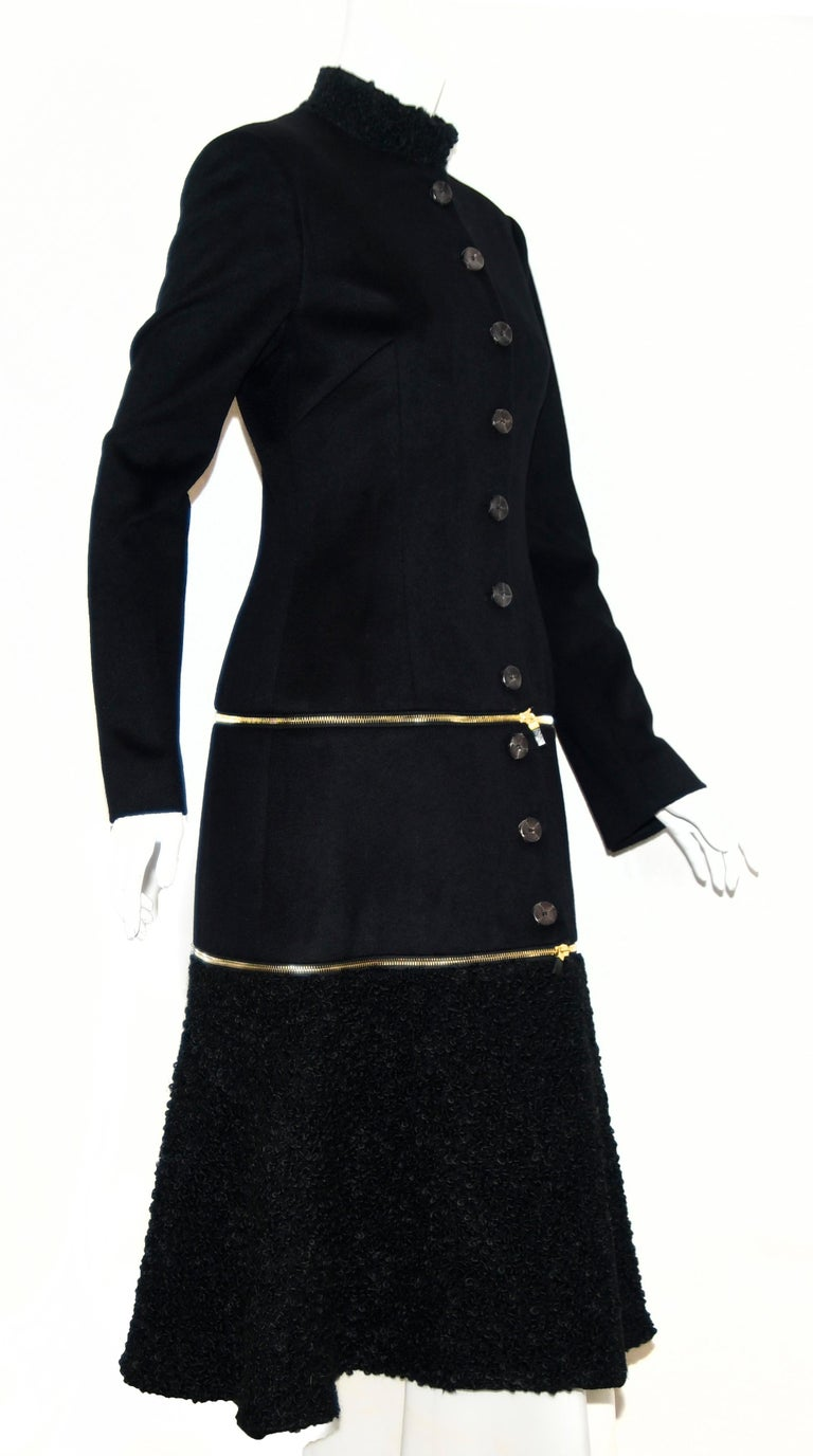 Women's Alexander McQueen Black Adaptable Wool & Cashmere Coat For Sale