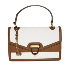 Gucci Derby Canvas Beige and Brown Leather Trim Top Handle Bag