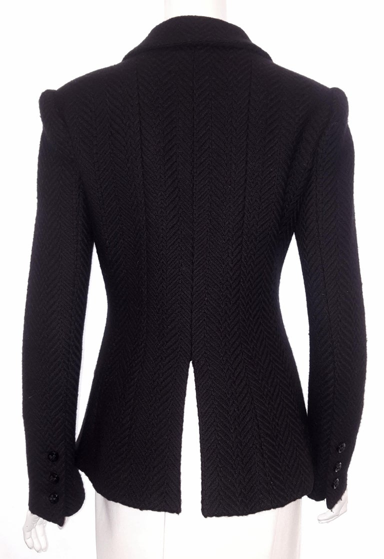 Chanel Black Herringbone Wool 2006 Fall Collection Jacket In Excellent Condition For Sale In Palm Beach, FL