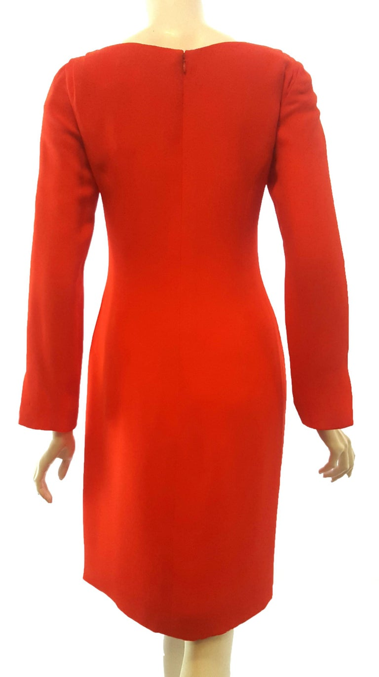 Carolina Herrera Red Crepe Long Sleeve Dress In Excellent Condition For Sale In Palm Beach, FL