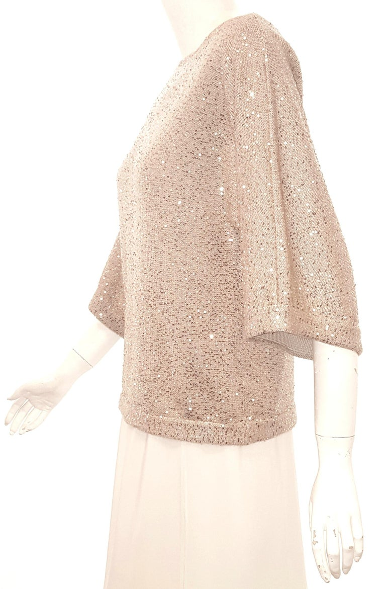 Beige Oscar de la Renta Bateau Neckline 3/4 Sleeve Sequin Sweater For Sale