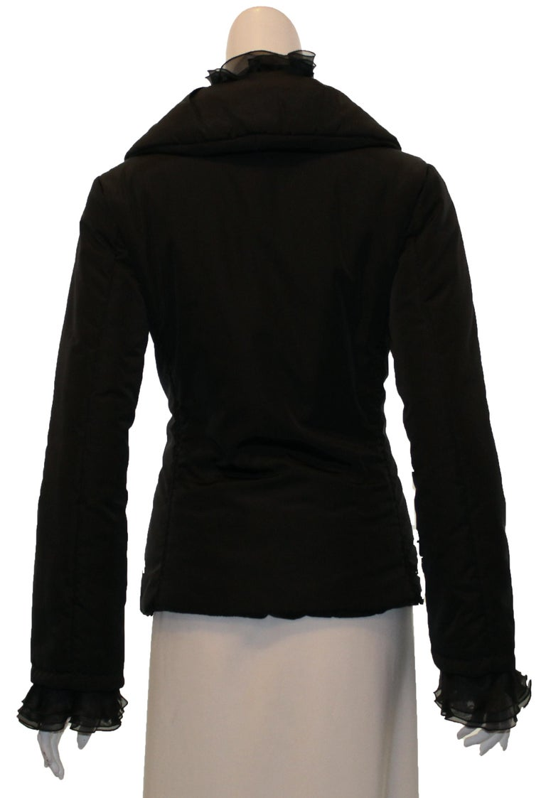 Valentino Black Puffer Jacket with Ruffle Collar & Cuffs In Excellent Condition For Sale In Palm Beach, FL