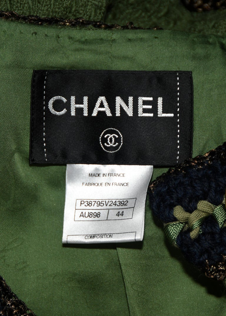 Women's Chanel Olive Green Skirt Suit w/ Navy Blue Trim For Sale