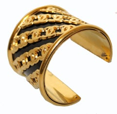 Rare 1950's Chanel Gold Tone and Enamel Wide Cuff Bracelet