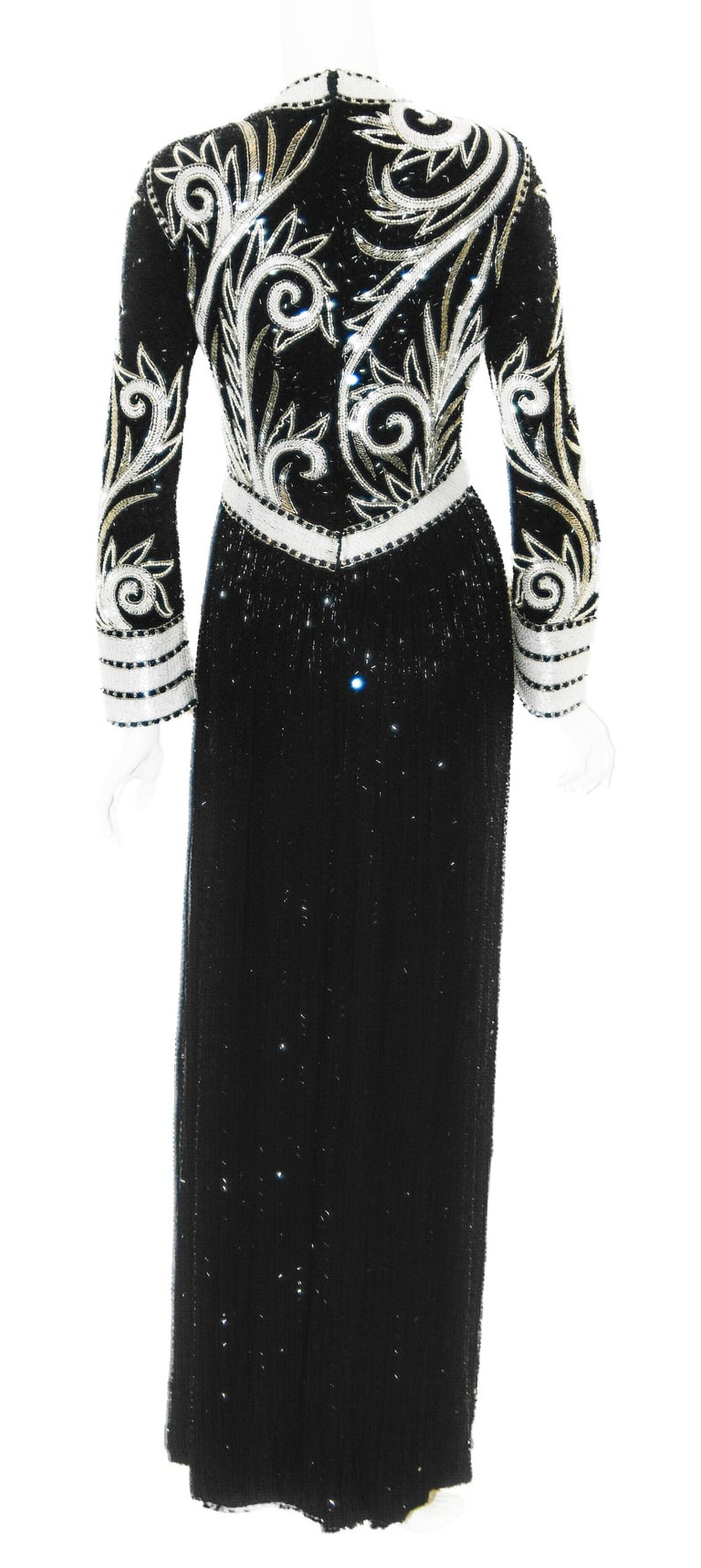 Women's Bob Mackie Black & White Fully Beaded Gown For Sale