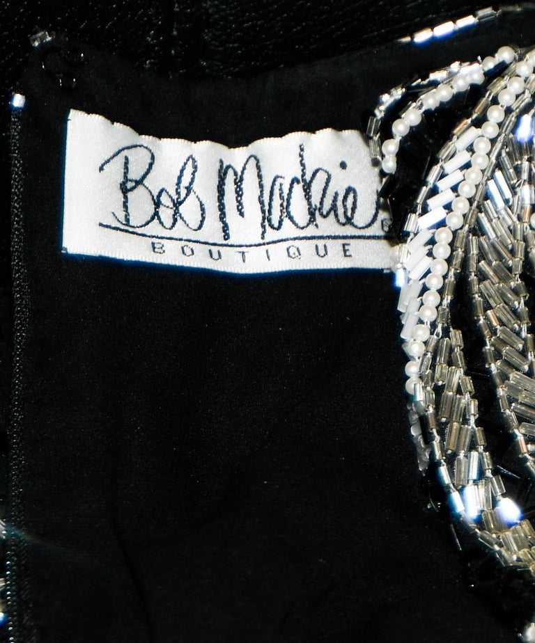 Bob Mackie Black & White Fully Beaded Gown For Sale 1