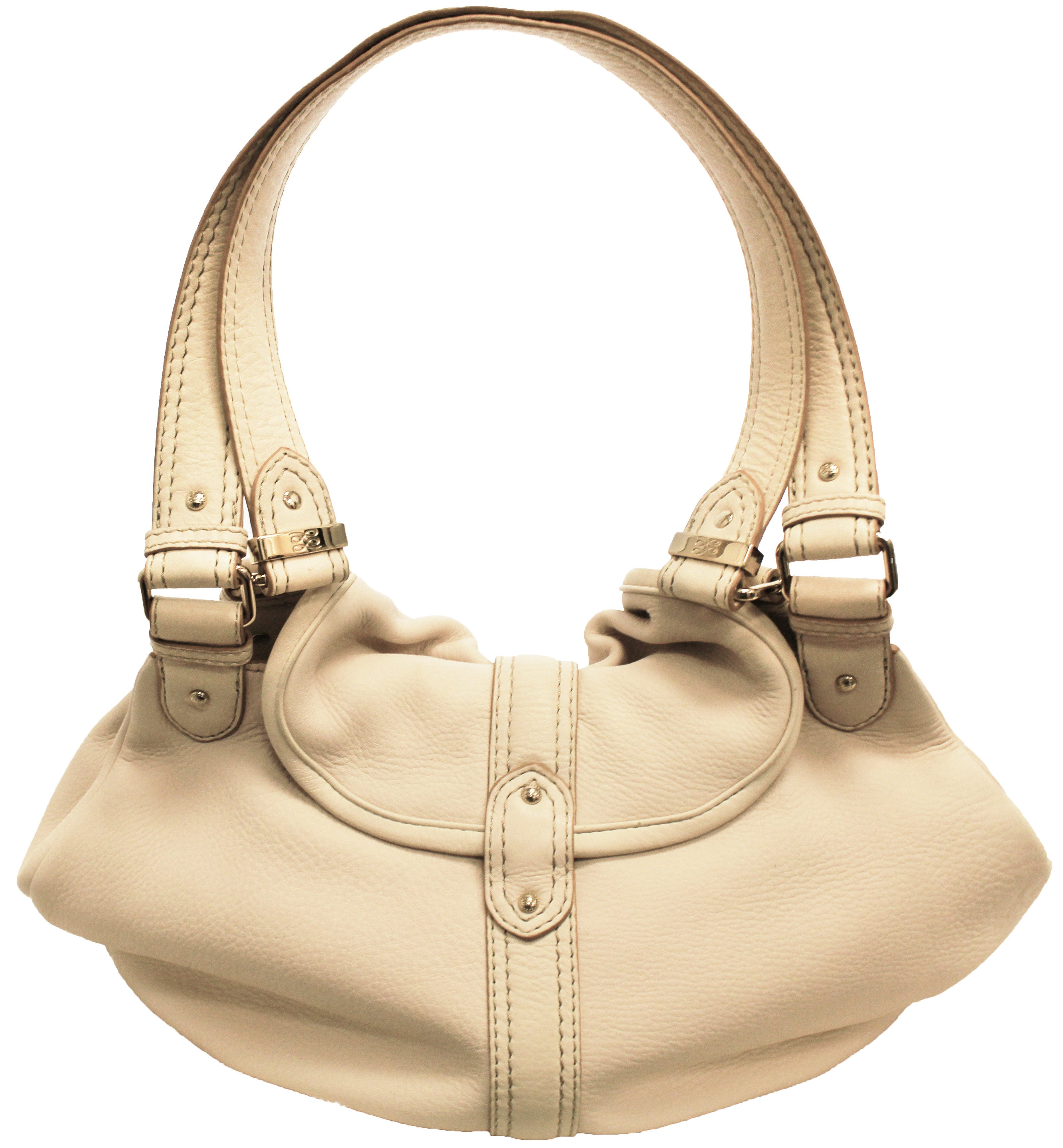 ae771ebbabaa10 Lancel Ivory Pebble Leather Two Strap Shoulder Bag For Sale at 1stdibs