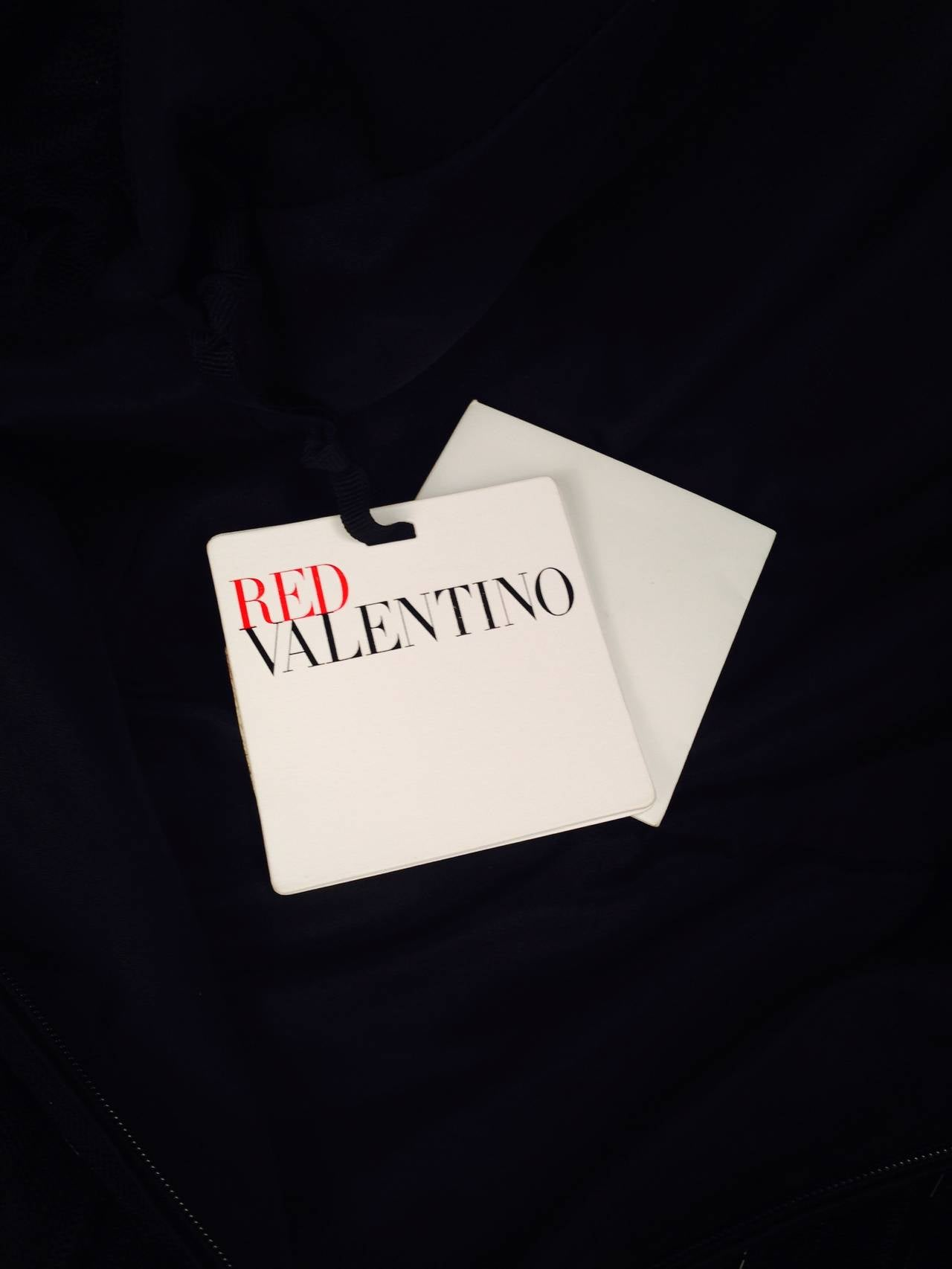 Brand New RED Valentino Black Cocktail Dress With Fuschia Silk Hem For Sale 4