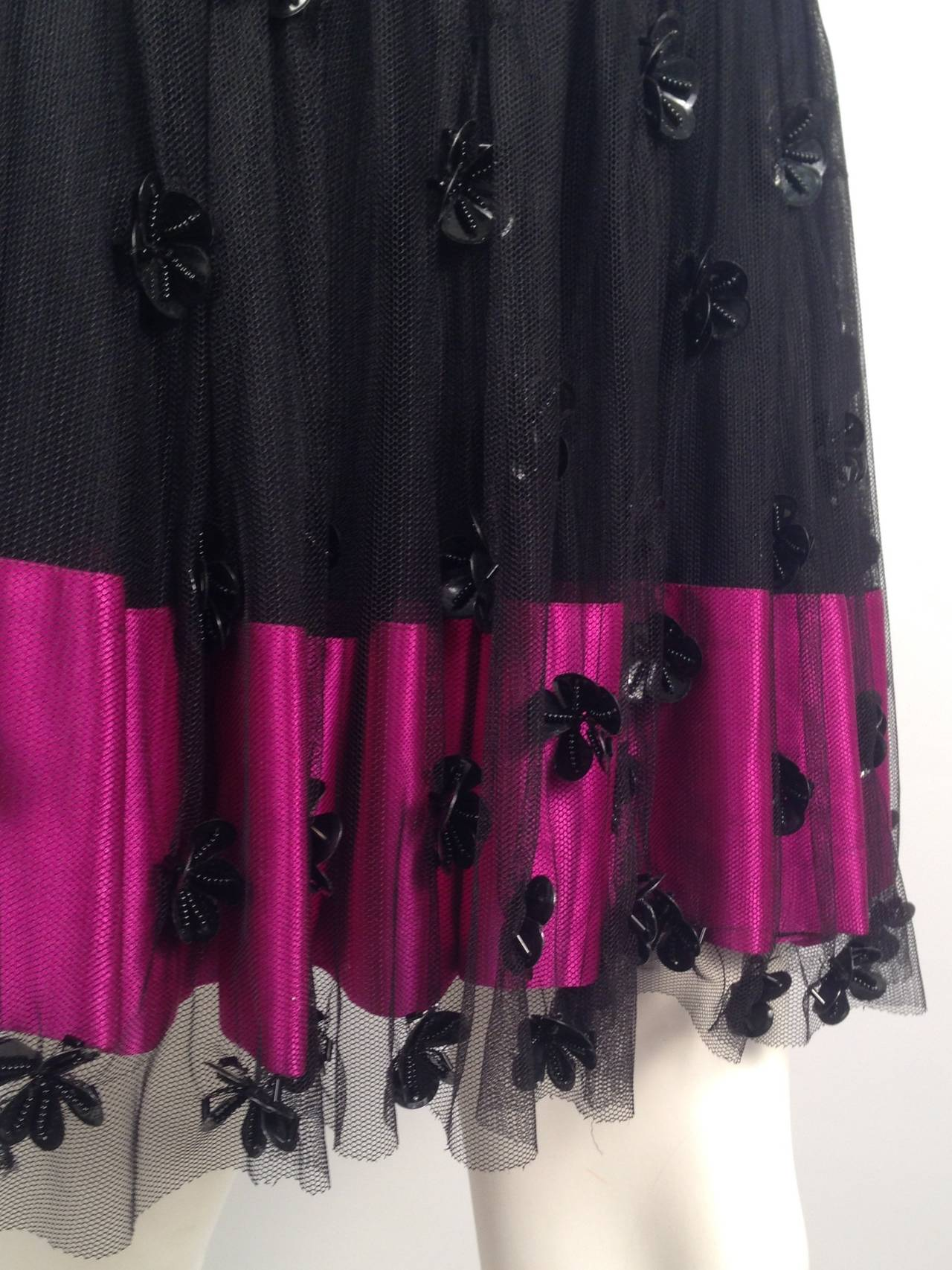 Brand New RED Valentino Black Cocktail Dress With Fuschia Silk Hem For Sale 2