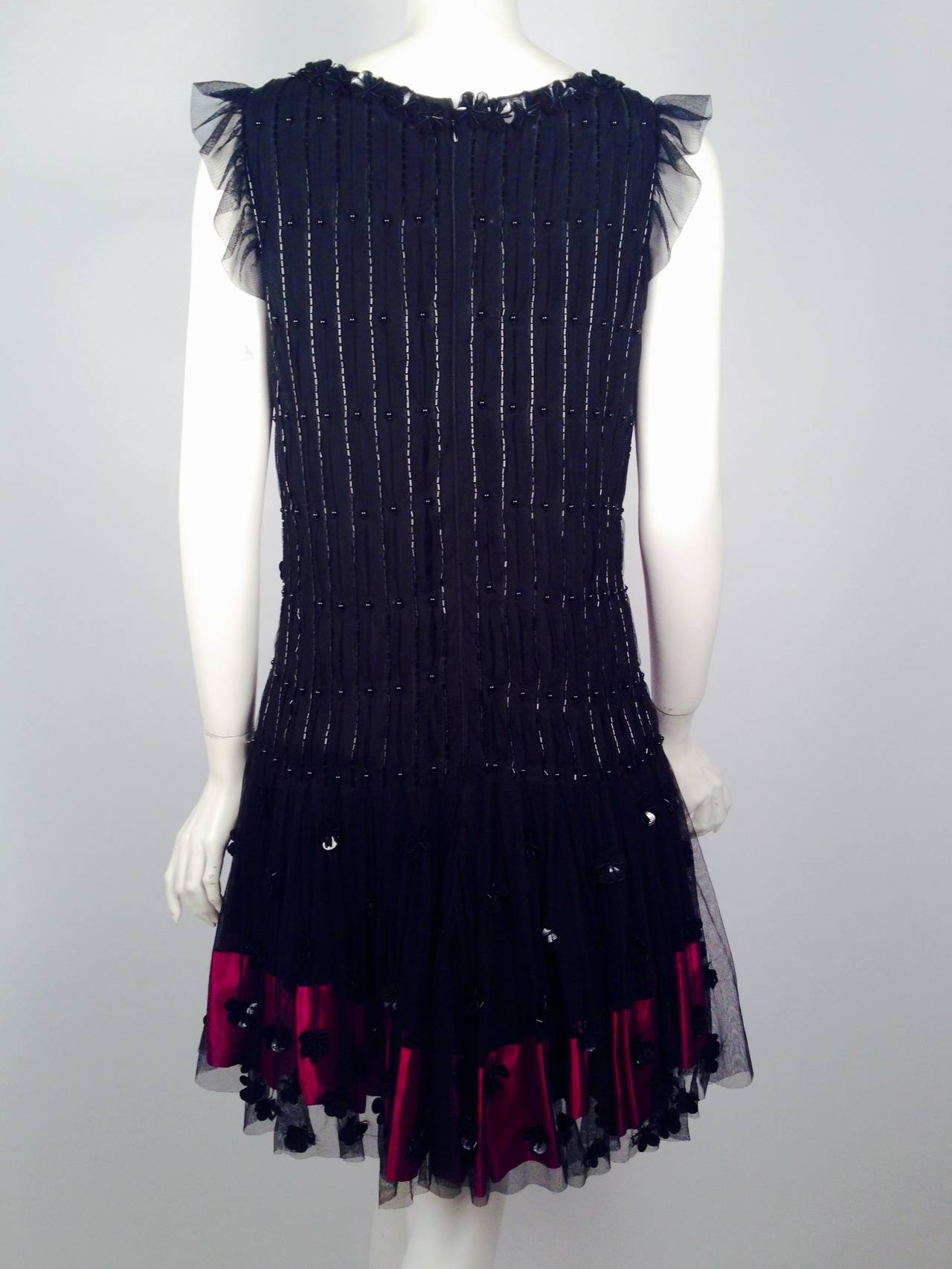Brand New RED Valentino Black Cocktail Dress With Fuschia Silk Hem In New Never_worn Condition For Sale In Palm Beach, FL