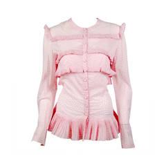 Alaia Paris Petal Pink Polka Dot Blouse