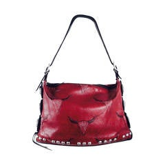 Kieselstein-Cord Studded Red Leather Shoulder Bag with Medallions