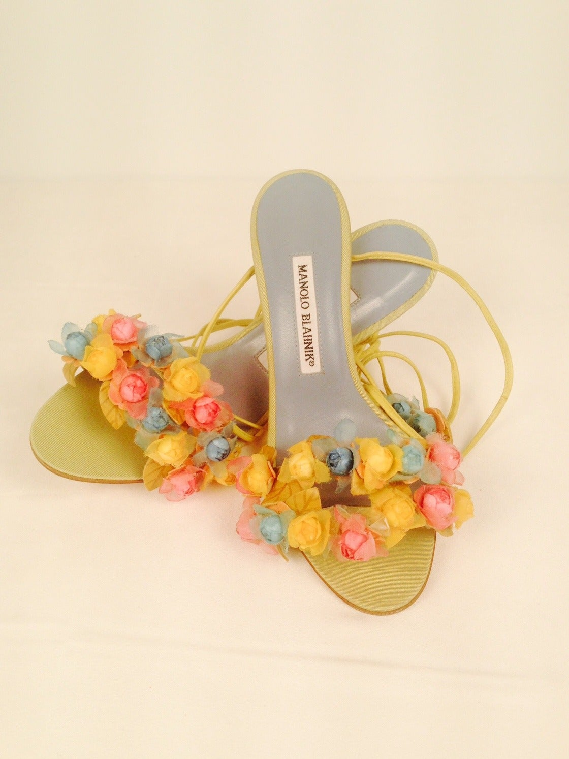 Manolo Blahnik Liseux Flower Ankle Tie Sandals 3