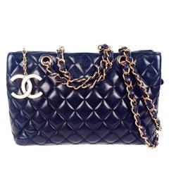 Vintage Chanel Black Quilted Lambskin Shoulder Bag