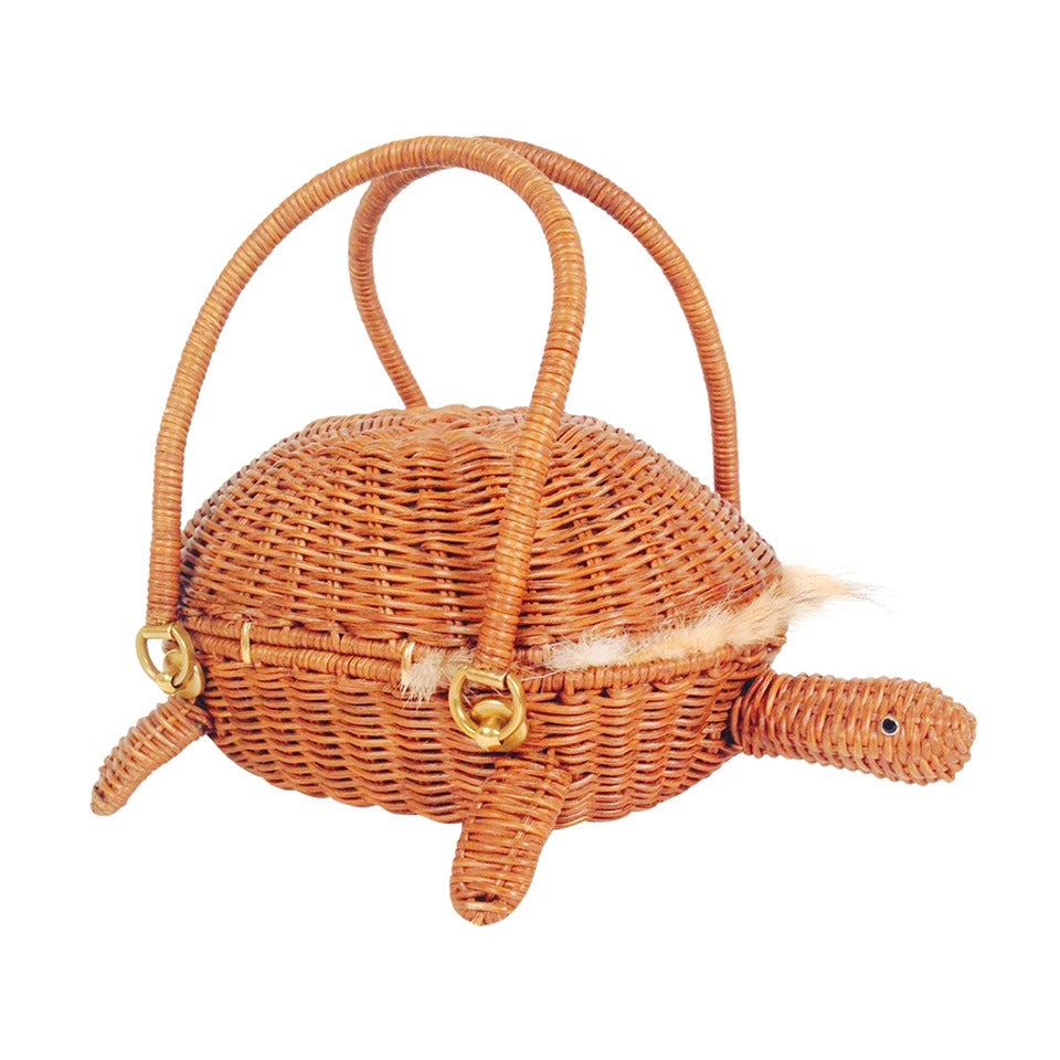 Salvatore Ferragamo Coyote Lined Wicker Turtle 1