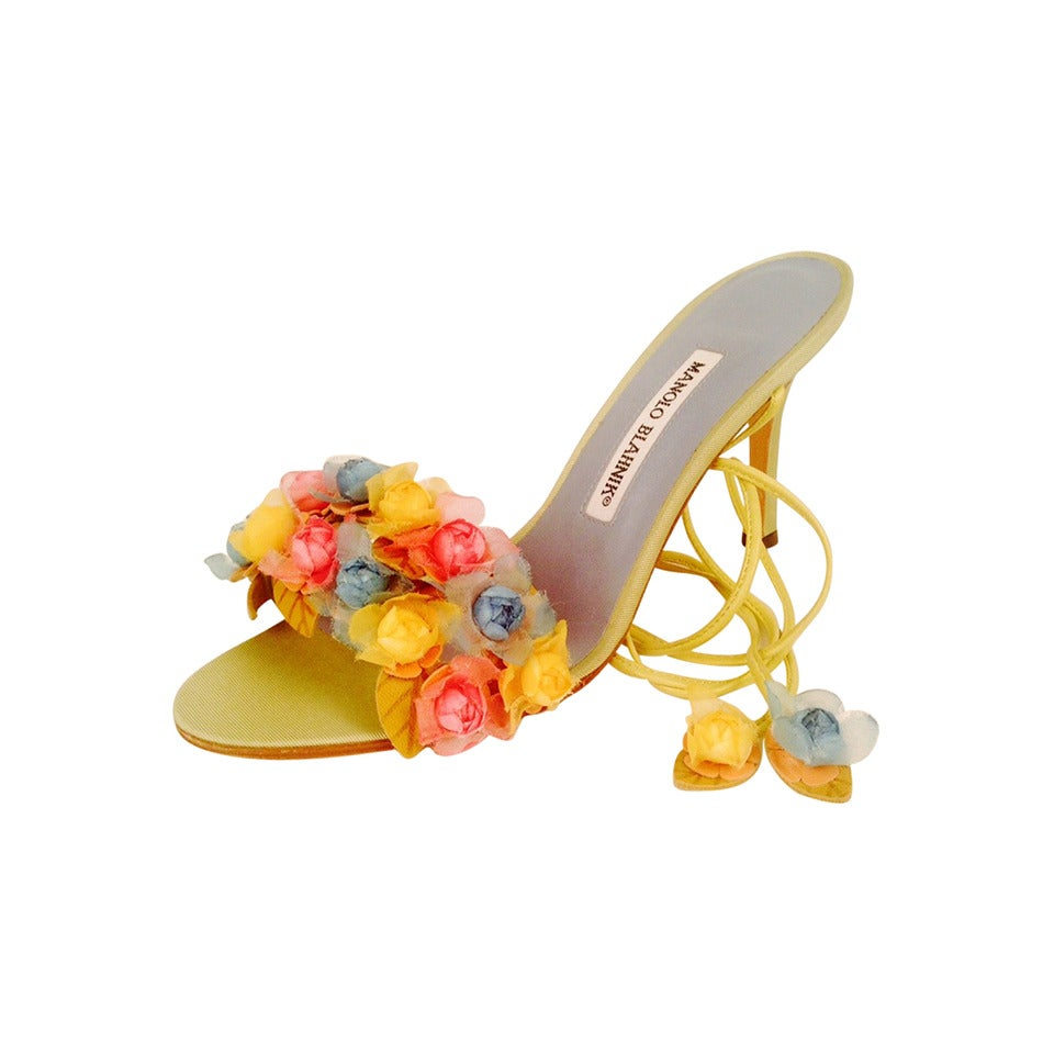 Manolo Blahnik Liseux Flower Ankle Tie Sandals 1