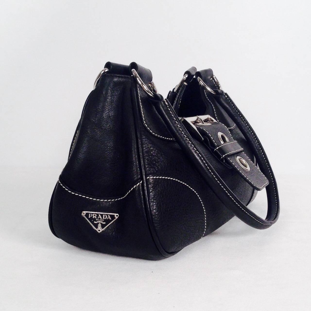 Prada Daino Box Nero Shoulder Handbag For Sale at 1stdibs