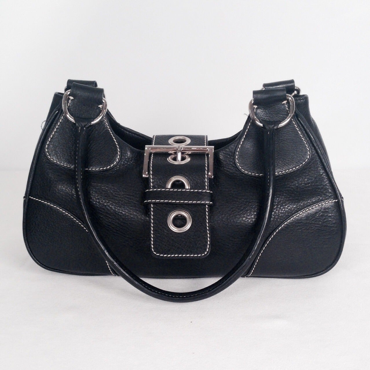 Black Prada Daino Box Nero Shoulder Handbag For