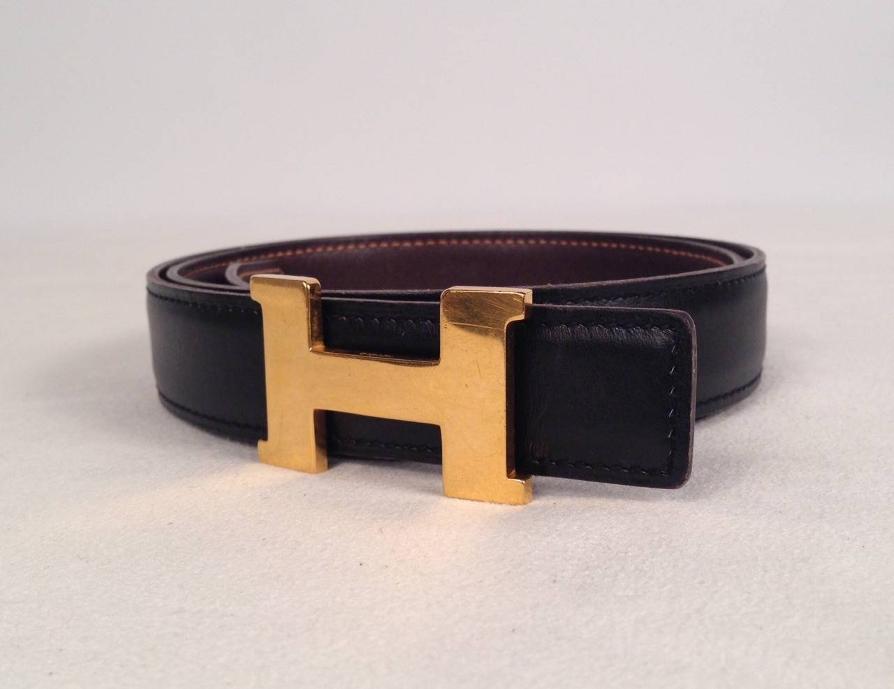 Hermes Reversible Belt With Small Constance Gold Tone Buckle 3