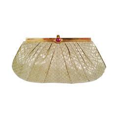 Vintage Judith Leiber Soft Fern Green Python Bag W Cabochon Amethyst Clasp