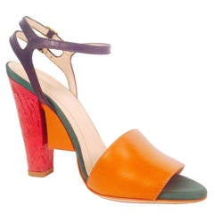 New Fendi Olive Faille Color Block Ankle Strap Sandals