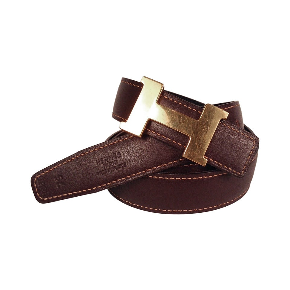 Hermes Reversible Belt With Small Constance Gold Tone Buckle 1