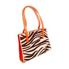 Lambertson Truex Zebra Pony Skin Structured Hand Bag