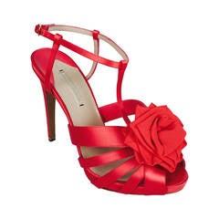 New Nicholas Kirkwood Red Satin High Heel Platform Sandals