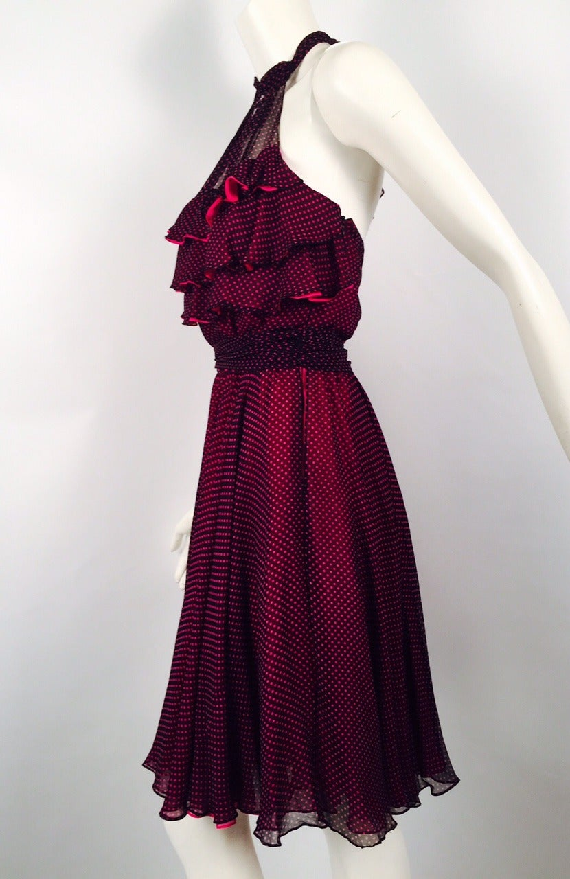 Women's New 100% Silk Fiandaca Fuschia and Black Polka Dot Halter Dress For Sale