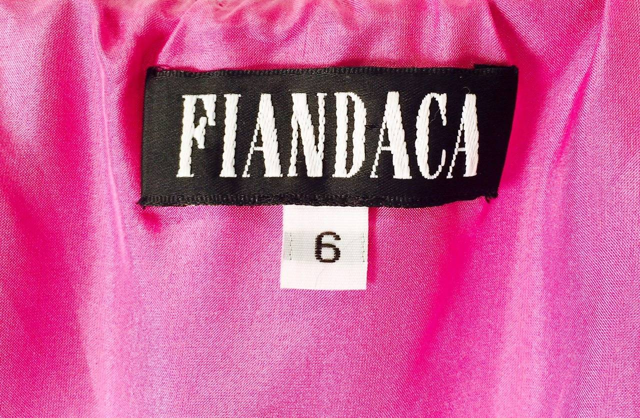 New 100% Silk Fiandaca Fuschia and Black Polka Dot Halter Dress For Sale 2