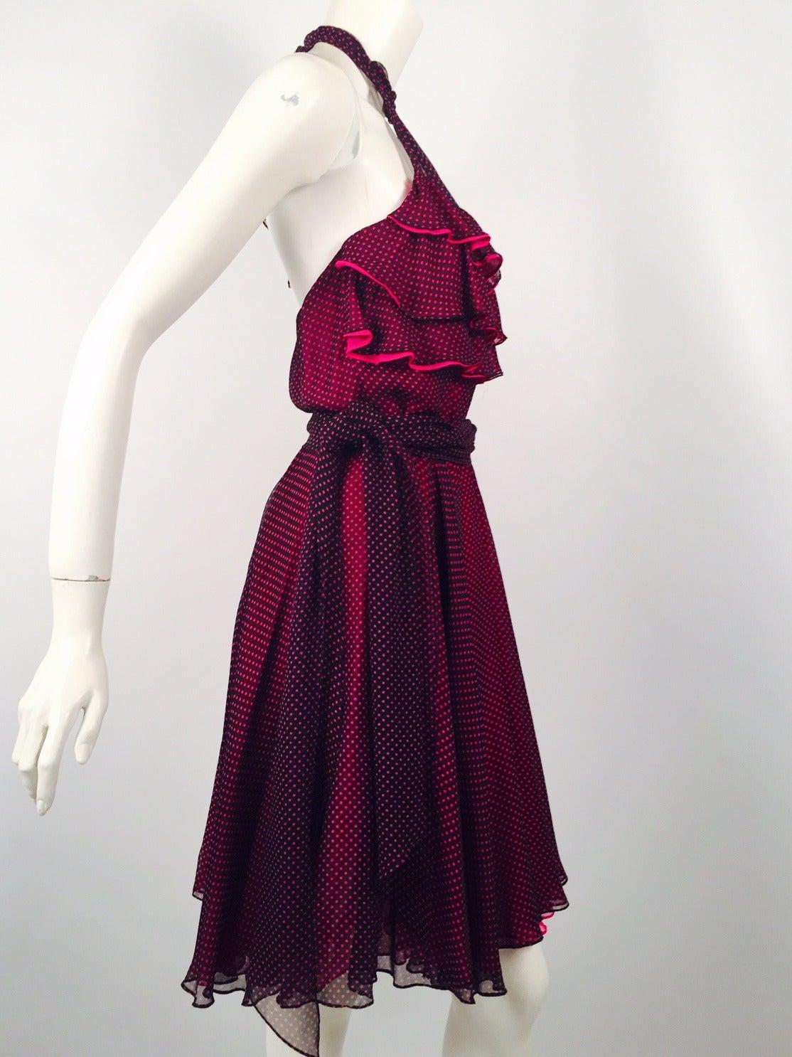 New 100% Silk Fiandaca Fuschia and Black Polka Dot Halter Dress In New never worn Condition For Sale In Palm Beach, FL