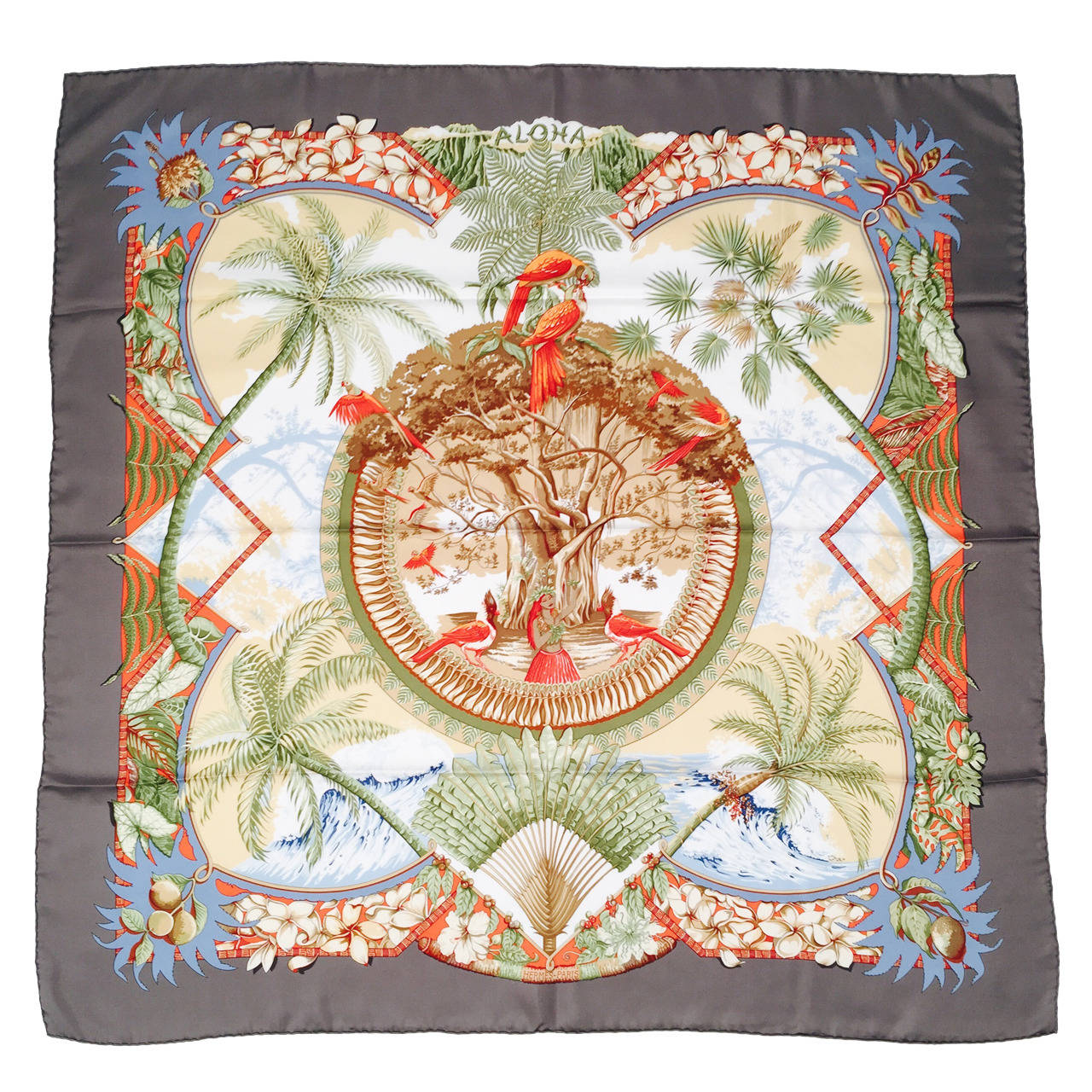 Brand New Herm 232 S Silk Twill Scarf By Laurence