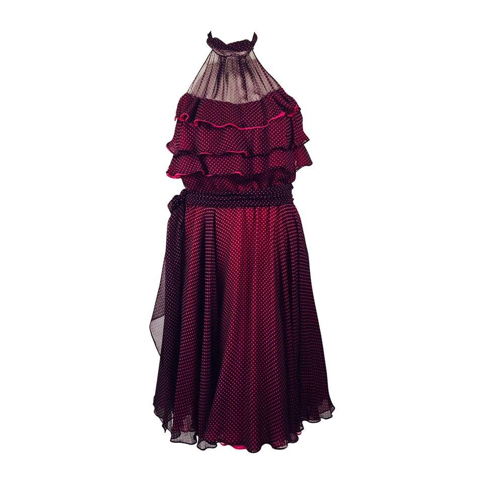 New 100% Silk Fiandaca Fuschia and Black Polka Dot Halter Dress For Sale