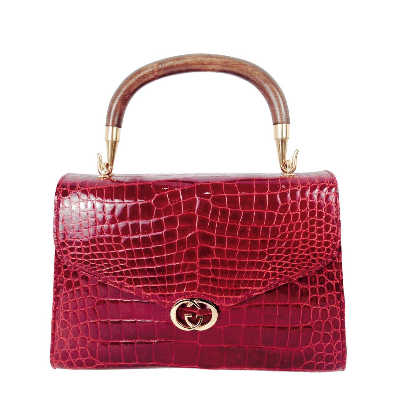 Gucci Burgundy Vintage Crocodile Handbag For
