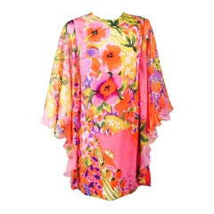 New Paola Quadretti Alta Moda Floral 100% Silk Dress