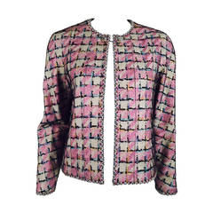 Chanel 2005 Spring Multi Color Tweed Jacket With Metallic ...