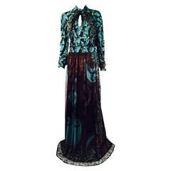 New CLASS Roberto Cavalli Long Sleeve Print Evening Gown
