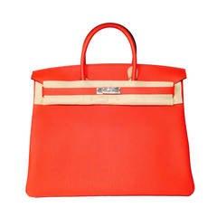 New Hermès Rouge Pivoine Veau Togo Birkin 40