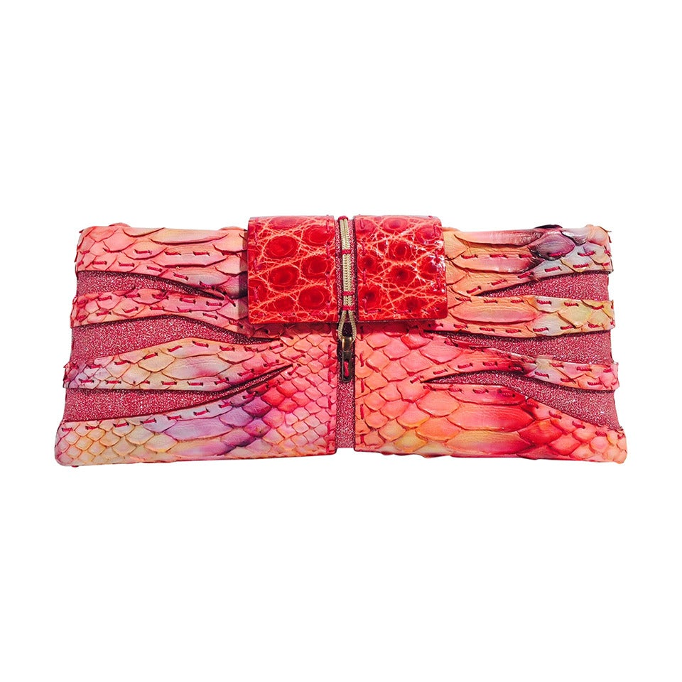 VBH 1st Edition Multi-Color Python and Crocodile Evening Clutch
