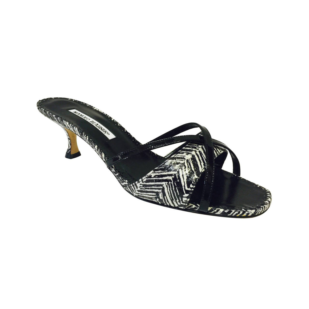 New Manolo Blahnik Kitten Heel Snakeskin Mules at 1stdibs