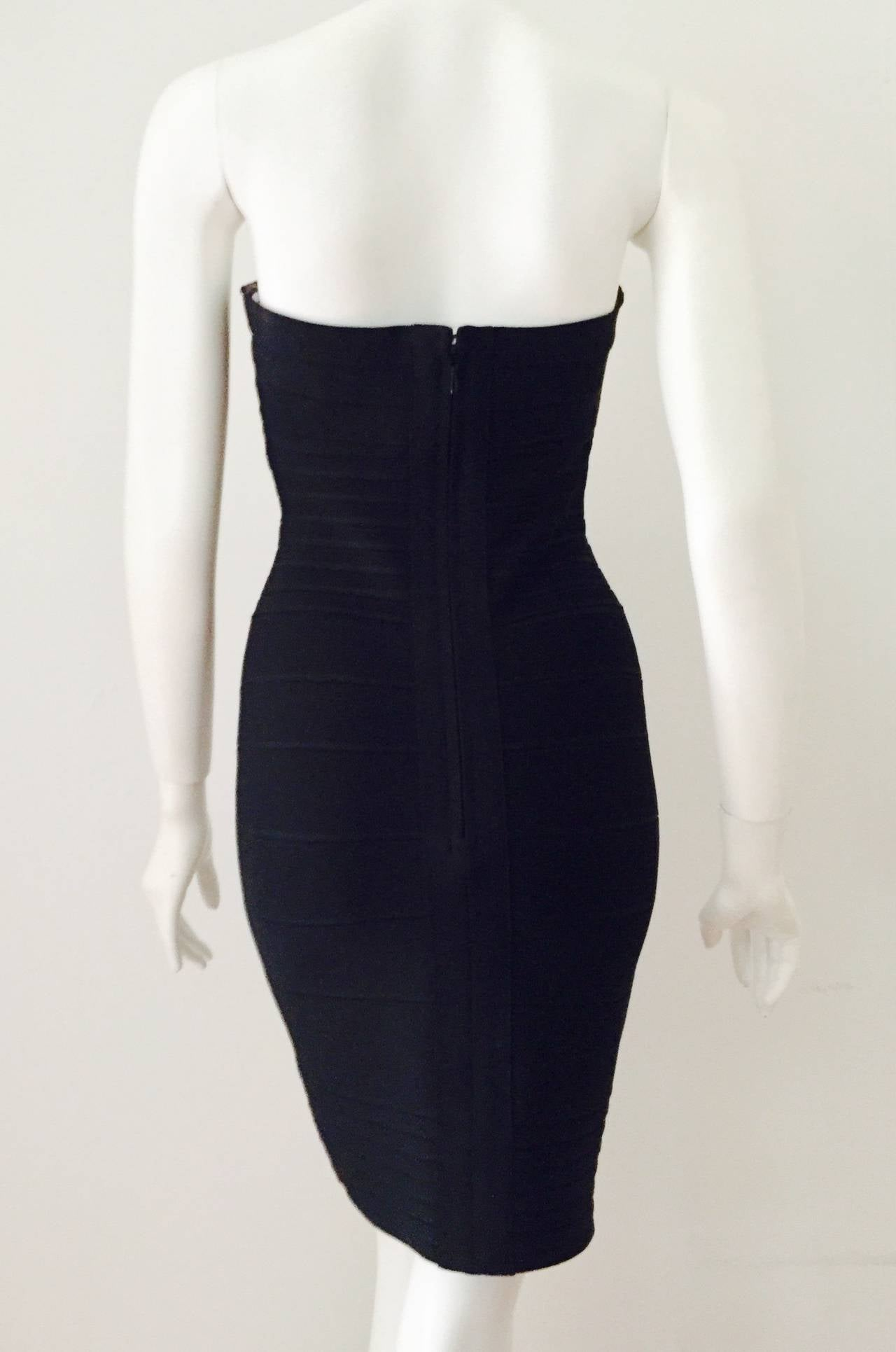 Iconic Herve Leger Bandage Strapless Dress 3