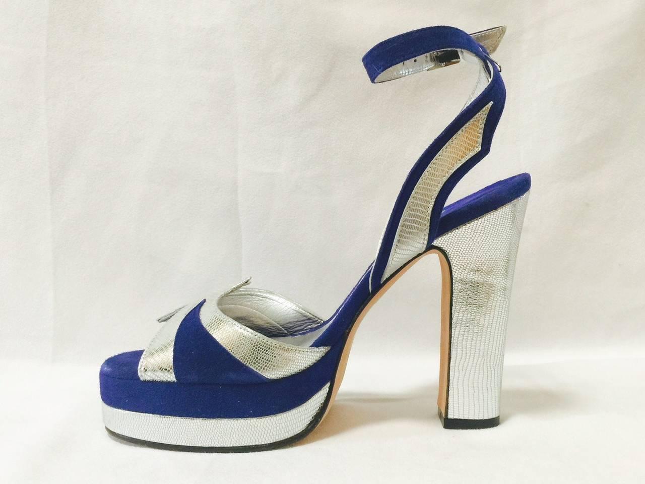 Gray New Terry de Havilland Blue Suede Platform Stacked High Heel Sandals For Sale