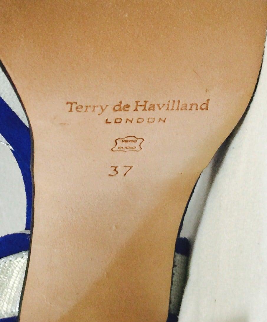 New Terry de Havilland Blue Suede Platform Stacked High Heel Sandals 5